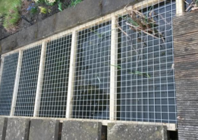 Pond steel child safety mesh installation
